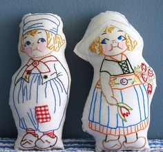 embroidered Dolly Dingle dolls