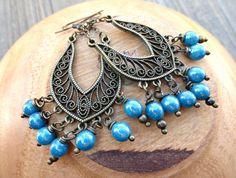 Blue and bronze earrings. Dangle, chandelier earrings. Glass and metal.