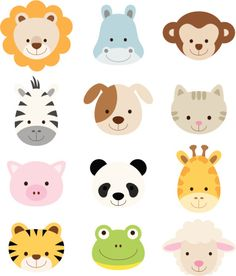 Vector illustration of animal faces including lion, hippo, monkey,. Jungle Animals, Felt Animals, Cute Baby Animals, Illustration Singe, Baby Pop, Animal Cupcakes, Animal Faces, Baby Prints, Cute Stickers