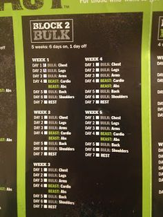 Committed to Get Fit: Week 4 Body Beast Review for Women  Bulk Block Schedule.