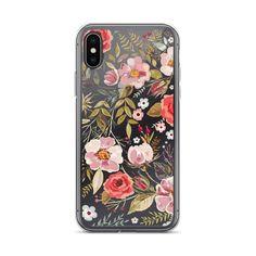 Watercolor Flower Garden Transparent iPhone Case Style No.
