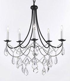 "Empress Crystal (tm) Wrought Iron Chandelier Chandeliers Lighting H.22.5"" x W.26"" Gallery http://www.amazon.com/dp/B00U2ZUD1Y/ref=cm_sw_r_pi_dp_JuiBvb1GCZ8TS"