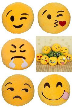 [Visit to Buy] 19 Styles Funny Cute emoji pillow plush pillow coussin cojines emoji gato Round Cushion emoticonos smiley Pillows #Advertisement