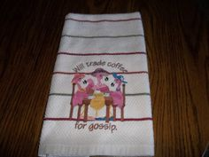 Kitchen Embroidered Towel Gossiping Flamingos Hand by bestdoilies, $15.00