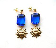 Sun Earrings  Blue Rhinestone Earrings  by BohemianGypsyCaravan