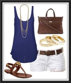 Blue tank with layered gold necklaces, leather sandals with gold detail, gold bangles, and leather satchel with gold detail