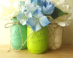 Three, Hand Painted Mason Ja... from curiouscarrie on Wanelo