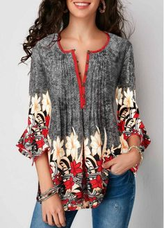Summer Women Casual Tops Blouse New Fashion Ladies Bell Sleeve Floral V Neck Tops Shirt Tunic Summer Holiday Clothes, Gray / XXL Trendy Tops For Women, Blouses For Women, Stylish Tops, Modelos Fashion, Red Blouses, Quarter Sleeve, Printed Blouse, Floral Blouse, Look Fashion