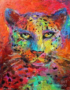 Vibrant Leopard impasto painting Fine Art Print - Svetlana Novikova