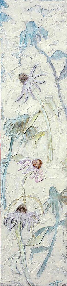 Echinacea, textured, mixed media painting, Kara Freeman art,