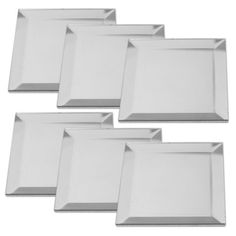 Premium Quality Beveled Mirrors, 3 Inch Square Shape, Pack of 6