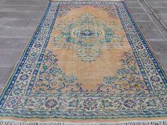 Boho Decor, Bohemian Rug, Pale Orange, Orange Area Rug, Modern Area Rugs, Small Rugs, Floor Rugs, Handmade Rugs, Kilim Rugs