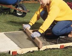 Build strong, crack-free concrete sidewalks and slabs with these 10 pro tips. Tips include forming edges, leveling, smoothing, curing and other vital steps in creating a first-rate concrete pour. Also, the 10 most common mistakes.  By the DIY experts of The Family Handyman Magazine: September 2008        Tip 1: Overbuild your forms      Tip 2: Form curves with hardboard      Tip 3: Keep stakes below the form tops      Tip 4: Put down a solid base      Tip 5: Plunge out the bubbles      Tip 6: Av