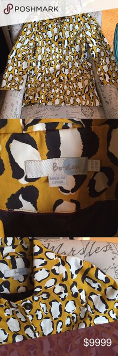 Boden New Modern Mac Animal Print Coat Water Resistant Cotton. In perfect condition. Absolutely in love with this fabric. This coat is not made to have a hood or belt. First two photos are stock. Colors are mustard yellow, black and white Boden Jackets & Coats Trench Coats