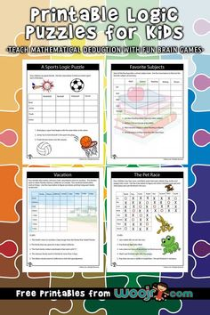 9 printable logic puzzles for kids from easy to difficult to teach mathematical deduction with fun brain games. games for kids logic puzzles Easy Logic Puzzles, Word Puzzles For Kids, Printable Puzzles For Kids, Maths Puzzles, Free Printables, Logic Games For Kids, Puzzle Games For Kids, Activities For Kids, Kids Brain Games