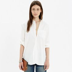 Madewell - Rivet & Thread Collarless Workshirt in Pure White