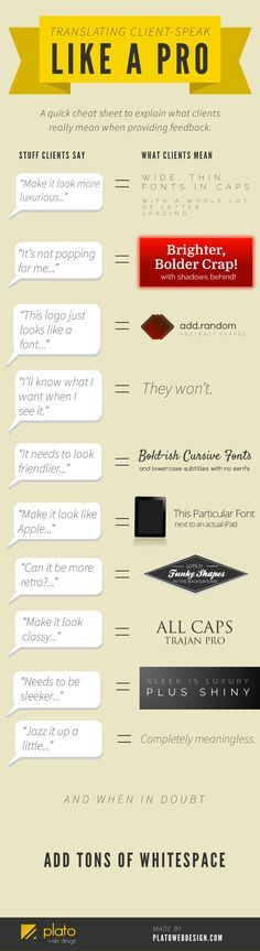 this was too funny not to share - Designer's Guide To What Clients Really Mean When Providing Feedback [INFOGRAPHIC]