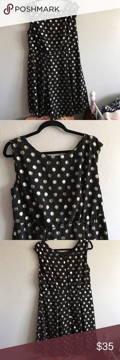 """Black and gold cocktail dress XL/1X Brand new - never worn. Sleeveless black and metallic gold polkadots. I'm 5'8"""" and it fell right past my knees. Zipper in back. Dresses Midi"""
