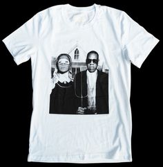 Jay-Z & Beyonce - American Gothic T-shirt Mash-Up - 'American Gothic Hustle' b&w Unisex - by American Anarchy Brand