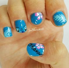art disney Stitch Nail Art by Done on my stepdaughter nails, Aby ❤ Stitch Nail Art by Done on my stepdaughter nails, Aby ❤ Disney Nail Designs, Cute Nail Designs, Nails For Kids, Fun Nails, Disney Inspired Nails, Hawaii Nails, Cruise Nails, Manicure, Disney Stitch