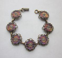 Iridescent Modern Czech Republic Glass Button Bracelet.  Antiqued Brass Filigree Bracelet. Silver Luster Trim Buttons. B 710 by OneWomanRepurposed on Etsy
