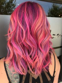 Dyed Hair Beautiful Day Want to be a mermaid? DFW salon has got you! Come get thairapy! Bright Hair Colors, Hair Dye Colors, Hair Color Dark, Cool Hair Color, Funky Hair Colors, Bright Coloured Hair, Galaxy Hair Color, Sunset Hair, Beautiful Hair Color