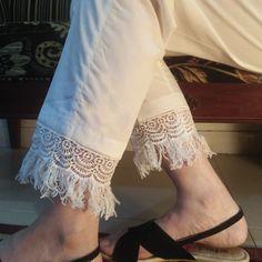 4eb146a683e020 White Pure Cotton Trouser For Women With Lace #womentrousers #womenpants  #seluarwanitamurah #leggingmalaysia