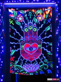 """The Hand"" UV-Blacklight Fluorescent Glow Psychedelic Art Backdrop, £90 in Tripleview Art Shop. #psychedelic #psy #goa #trance #psytrance #goatrance #rave #club #festival #trippy #hippie #esoteric #mystic #spiritual #visionary #symbolism #UV #ultraviolet #blacklight #fluorescent #fluoro #fluo #neon #glow #luminescent #art #backdrop #banner #wallhanging #tapestry #deco #handoffatima #hamsa #khamsa #amulet #ankh #lotus"