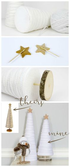 Make these easy and affordable DIY winter yarn trees to spruce up your winter decor! A great knock off idea to get the look for less! Get the tutorial at http://TheInspiredHive.com!