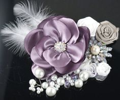 Corsages, Lilac, White, Gray, Silver, Purple, Elegant, Vintage Style, Feather…