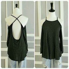 Black Crisscross Open Back Cold Shoulder Top Black & Grey Striped Crisscross Open Back Light Weight Loose Fit Cold Shoulder Blouse  Hurry Ladies Only 1 Left In Each Size...Small, Medium & Large...Purchase Your Size By Tapping The Buy Now Button Or Add To Bundle & Selecting Your Size          No Trades Price Firm ✈✈Ships Same Or Next Day✈✈ April Spirit Tops Tunics