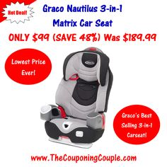 ****HOT HOT HOT 3-in-1 Car Seat Deal**** Get this HIGHLY RATED Graco Nautilus 3-in-1 Matrix Car Seat FOR ONLY $99 SHIPPED (LOWEST PRICE EVER) (reg. price $189.99) Act Quick Limited Time Offer! Click the link below to get all of the details ► http://www.thecouponingcouple.com/graco-nautilus-3-in-1-matrix-car-seat/  #Coupons #Couponing #CouponCommunity  Visit us at http://www.thecouponingcouple.com for more great posts!
