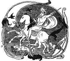 Odin, Sleipnir, Geri, Freki, Huginn and Muninn by Frølich. Sleipnir could run on both land and in air, only Odin could ride him.