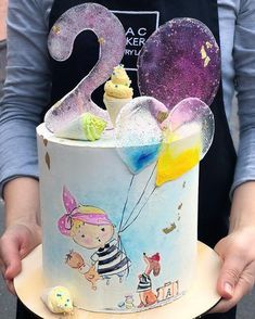 Ideas birthday cake pretty kids for 2019 Crazy Cakes, Fancy Cakes, Pretty Cakes, Cute Cakes, Fondant Cakes, Cupcake Cakes, Lollipop Cake, Party Mottos, Hand Painted Cakes