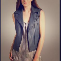 VINCE Leather Moto Vest Brand NWT in beautiful embossed basket weave. Leather motorcycle style vest. Retails for $895. Vince Jackets & Coats Vests