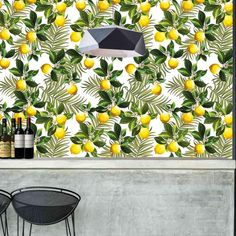green and yellow lemon tree wallpaper mural Tree Wallpaper Mural, Laundry, Board, Green, Laundry Room, Laundry Rooms, Planks