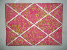 New memo board made with Lilly Pulitzer Secret Garden fabric via Etsy