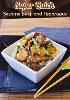 Super Quick Sesame Beef and Asparagus - A super quick and delicious meal in minutes. When there's practically no time for cooking, this highly flavorful dinner is ready in less time that you can pick up take-out.