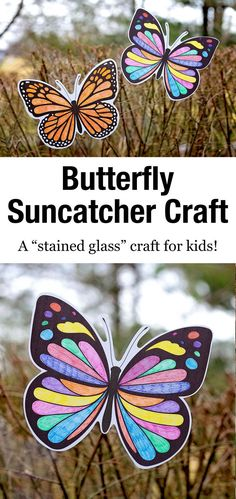 This Butterfly Suncatcher Craft is a creative and beautiful craft that you can easily display in your home. It's perfect for kids of all ages! Bug Activities, Creative Activities For Kids, Craft Projects For Kids, Spring Activities, Easy Crafts For Kids, Arts And Crafts Projects, Diy For Kids, Craft Ideas, Spring Arts And Crafts