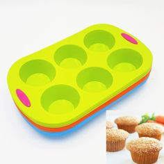 37*22.5*5CM 305G Double Color Six Small Round Cup Cake Mold 3D Silicone Cake Mold Baking Tools For Bakeware Free Shipping
