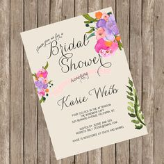 Bridal Shower Invitation - Bohemian Hand Painted Watercolour Floral - Printed Invitations or Printable File