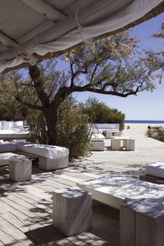 The iconic Club 55 in St.Tropez is the perfect spot to unwind and relax in style at the beach.