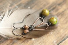 Long Oxidized Solid Copper Earring With Stone by SparrowtaleStudio, $23.00