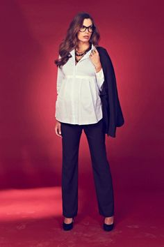 Seraphine's White Empire Line Stretch Cotton Maternity Shirt