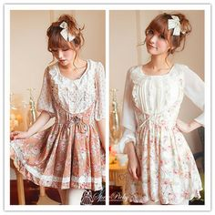 Coffee/White Floral High Waist Lace Strap Dress Free Shipping SP140335 http://spreepicky.storenvy.com