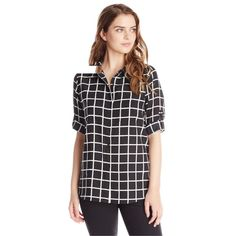 sale⚡️Calvin Klein windowpane roll-sleeve top super cute. worn once just a little too small for me. no trades. formal offers only. bundle for discount. Calvin Klein Tops Blouses