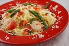 Angel Hair w/ Shrimp and Asparagus. Just made this tonight, it is AWESOME! Super light and healthy and Gianna loved it as well :)