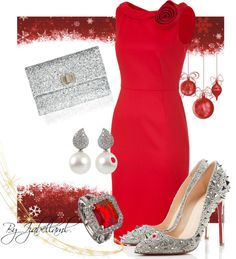 """""""Red and Silver"""" by izabellaml ❤ liked on Polyvore"""