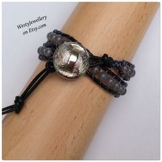 A personal favourite from my Etsy shop https://www.etsy.com/uk/listing/263141463/grey-agate-leather-wrap-bracelet-grey