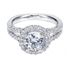 14K White Gold Round Halo Engagement Ring Wedding Day Diamonds